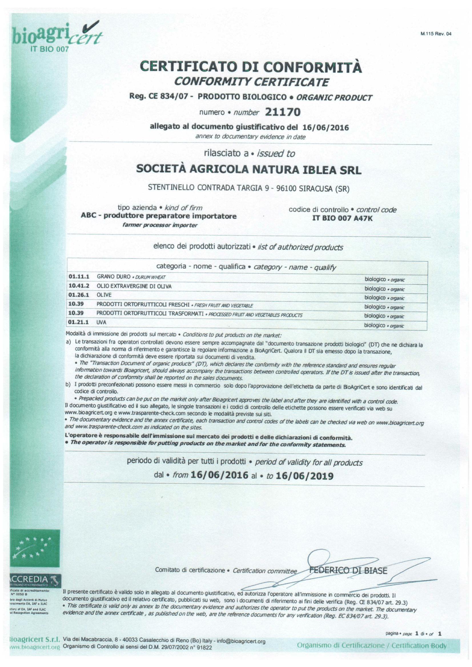 Certificato Biologico BioAgriCert