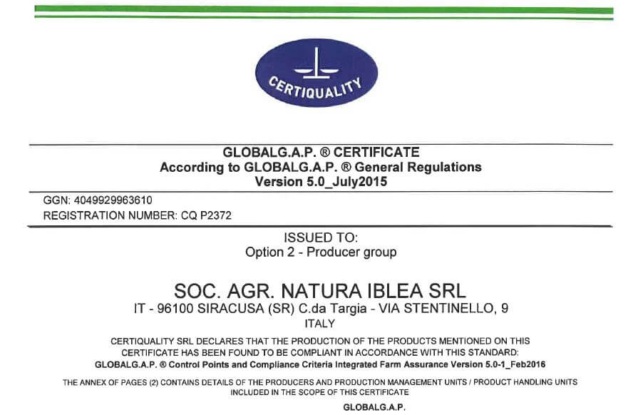 Certificato Biologico Global Gap Op. 2