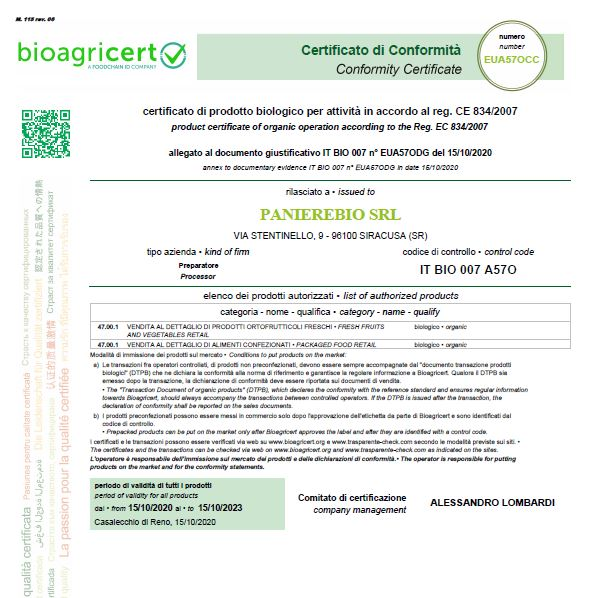 certificato biologico prodotti biologici panierebio