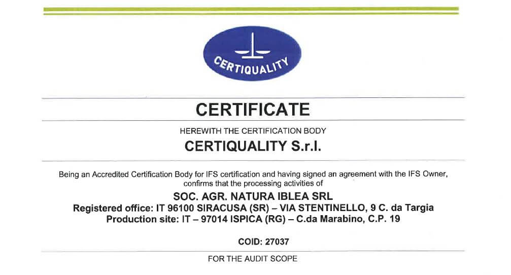Certificato IFS Natura Iblea